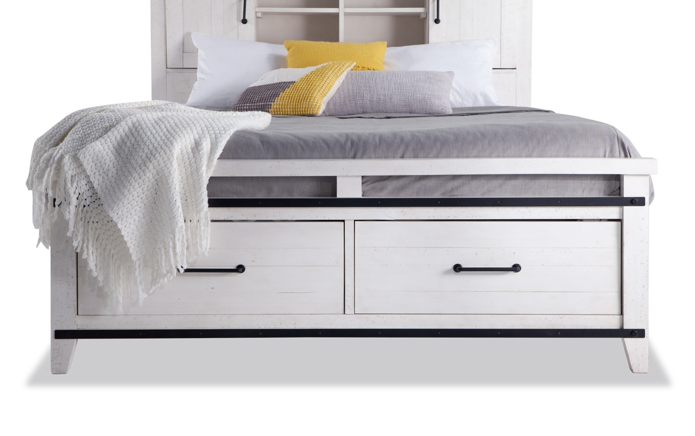 Montana California King White Bookcase Storage Bedroom Set