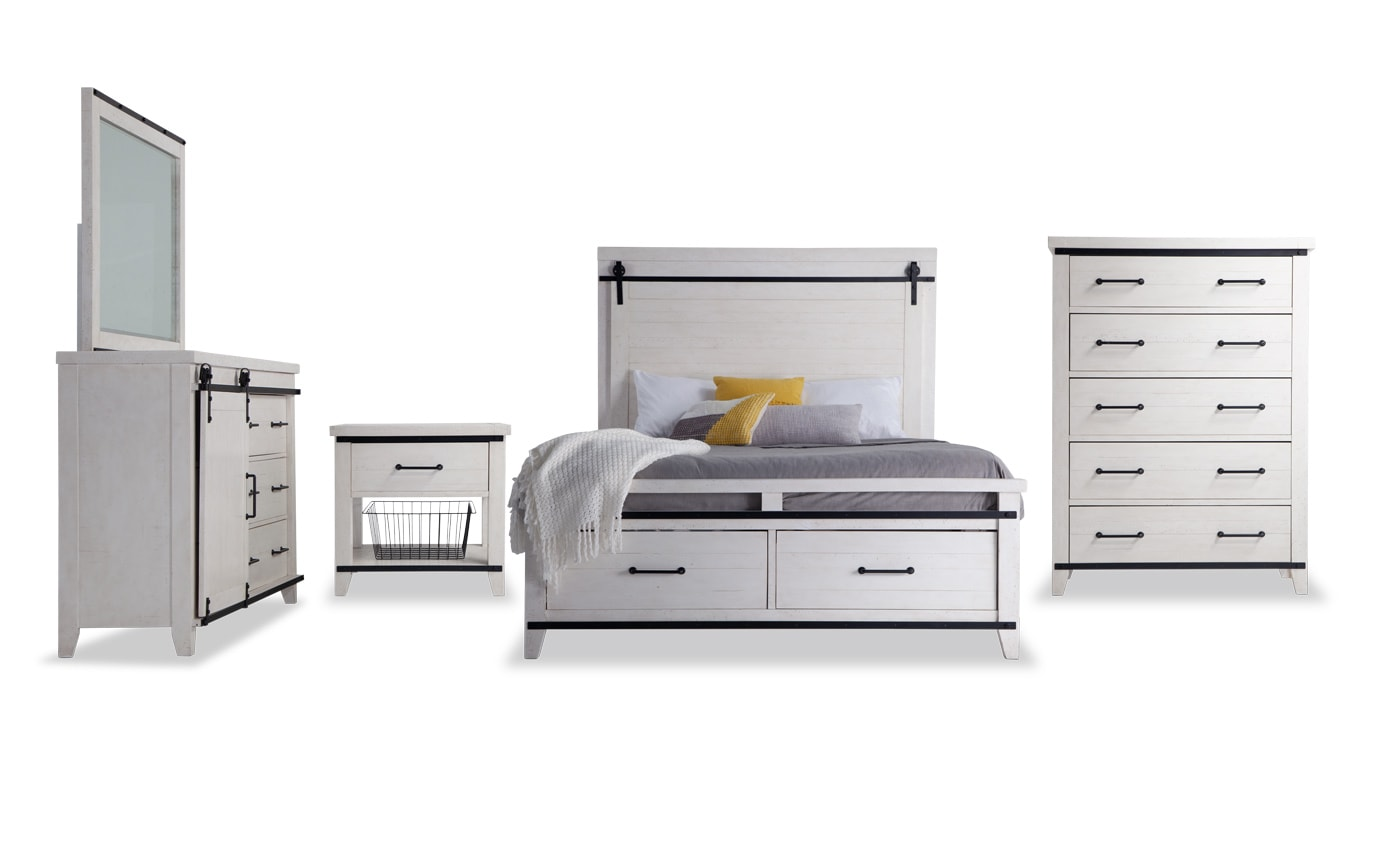 Montana California King White Storage Bedroom Set