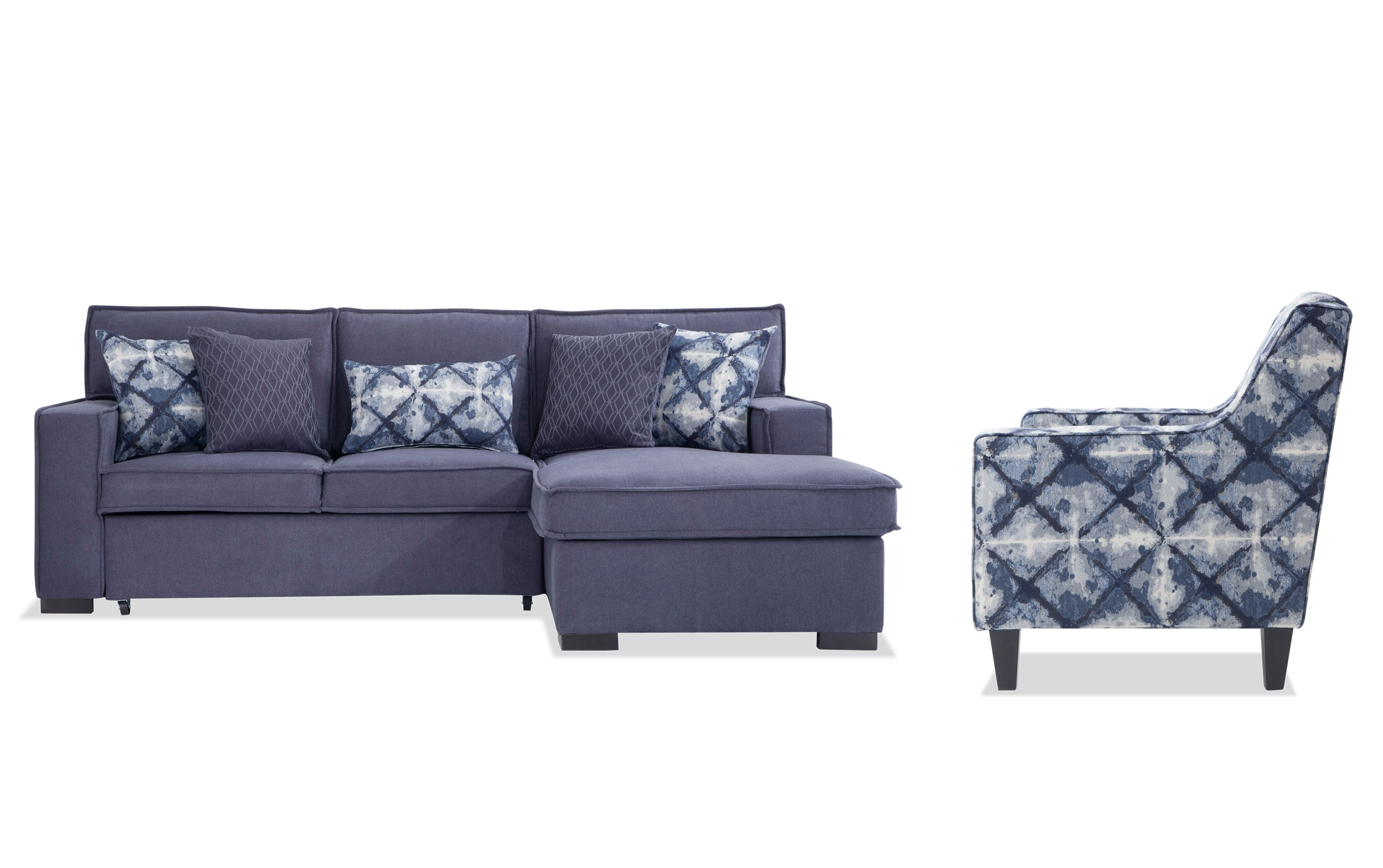 Playscape Denim Left Arm Facing Sectional with Accent Chair