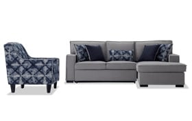 Playscape Gray Right Arm Facing Sectional with Accent Chair