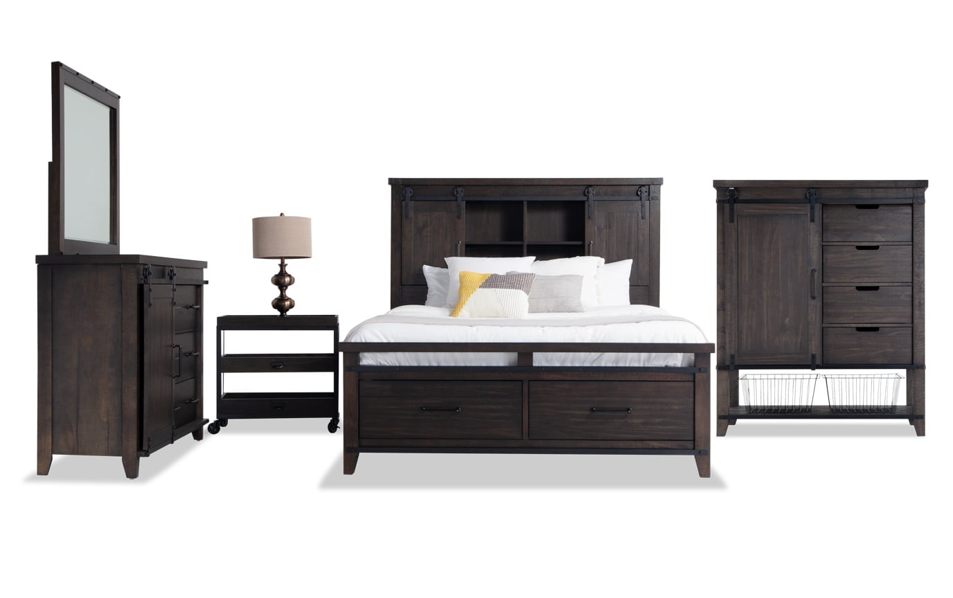 Montana King Brown Bookcase Storage Bedroom Set Bobs Com