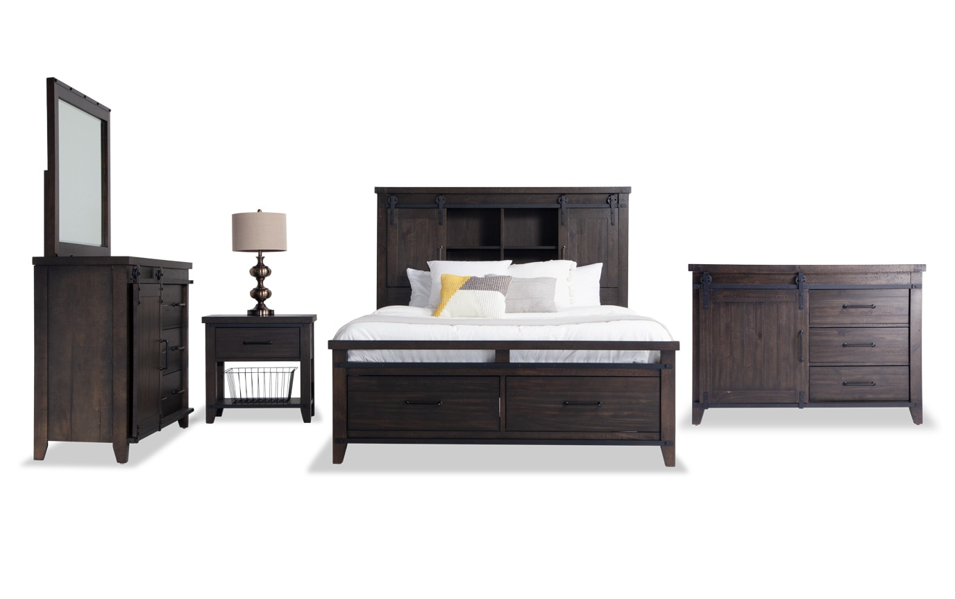 Montana California King Brown Bookcase Storage Bedroom Set