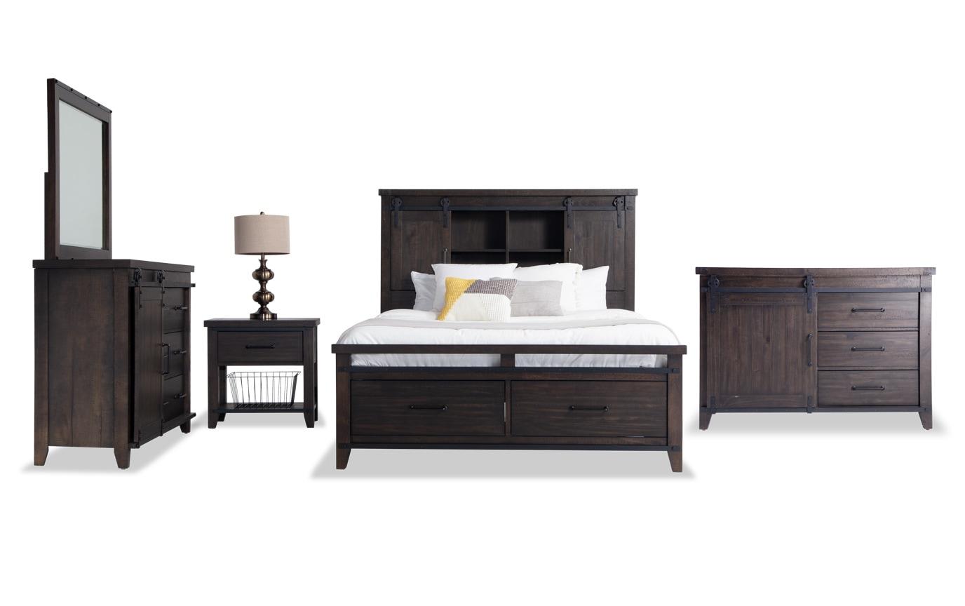 Montana Full Brown Bookcase Storage Bedroom Set