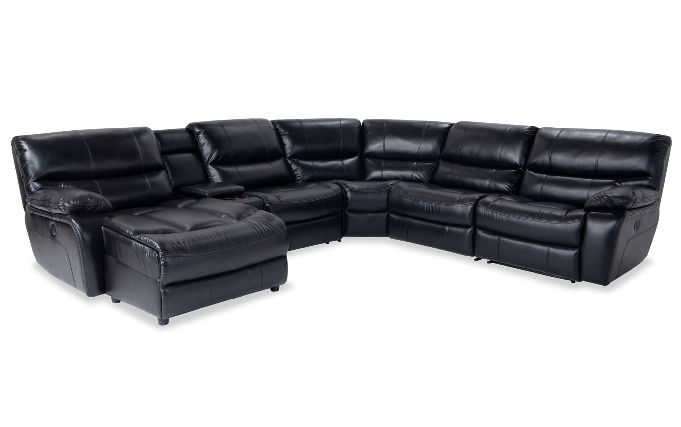 Avenger Black 6 Piece Power Reclining Right Arm Facing Sectional