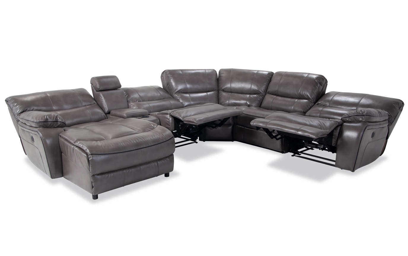 Avenger 6 Piece Power Reclining Right Arm Facing Sectional