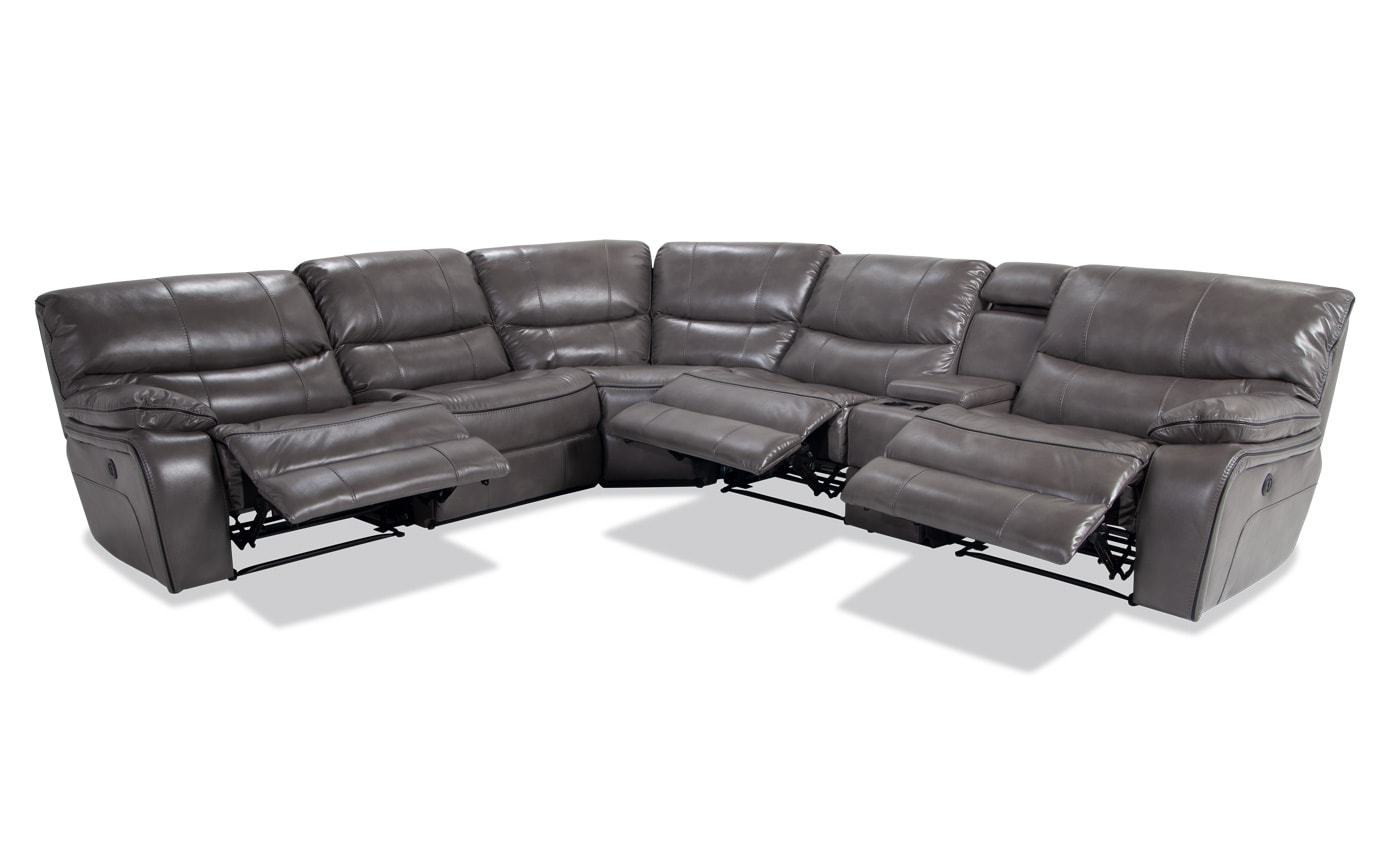 Avenger Gray 6 Piece Power Reclining Sectional