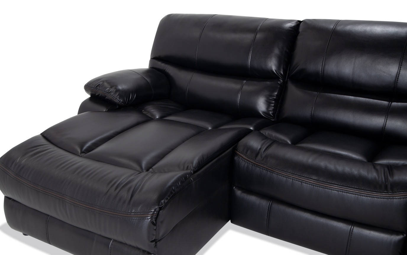 Avenger Black 3 Piece Power Reclining Right Arm Facing Sectional