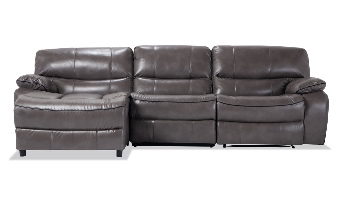 Avenger Gray 3 Piece Power Reclining Right Arm Facing Sectional