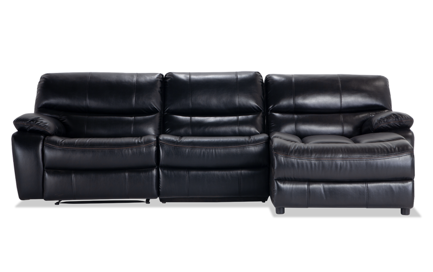 Avenger Black 3 Piece Power Reclining Left Arm Facing Sectional