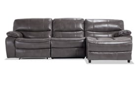 Avenger Gray 3 Piece Power Reclining Left Arm Facing Sectional