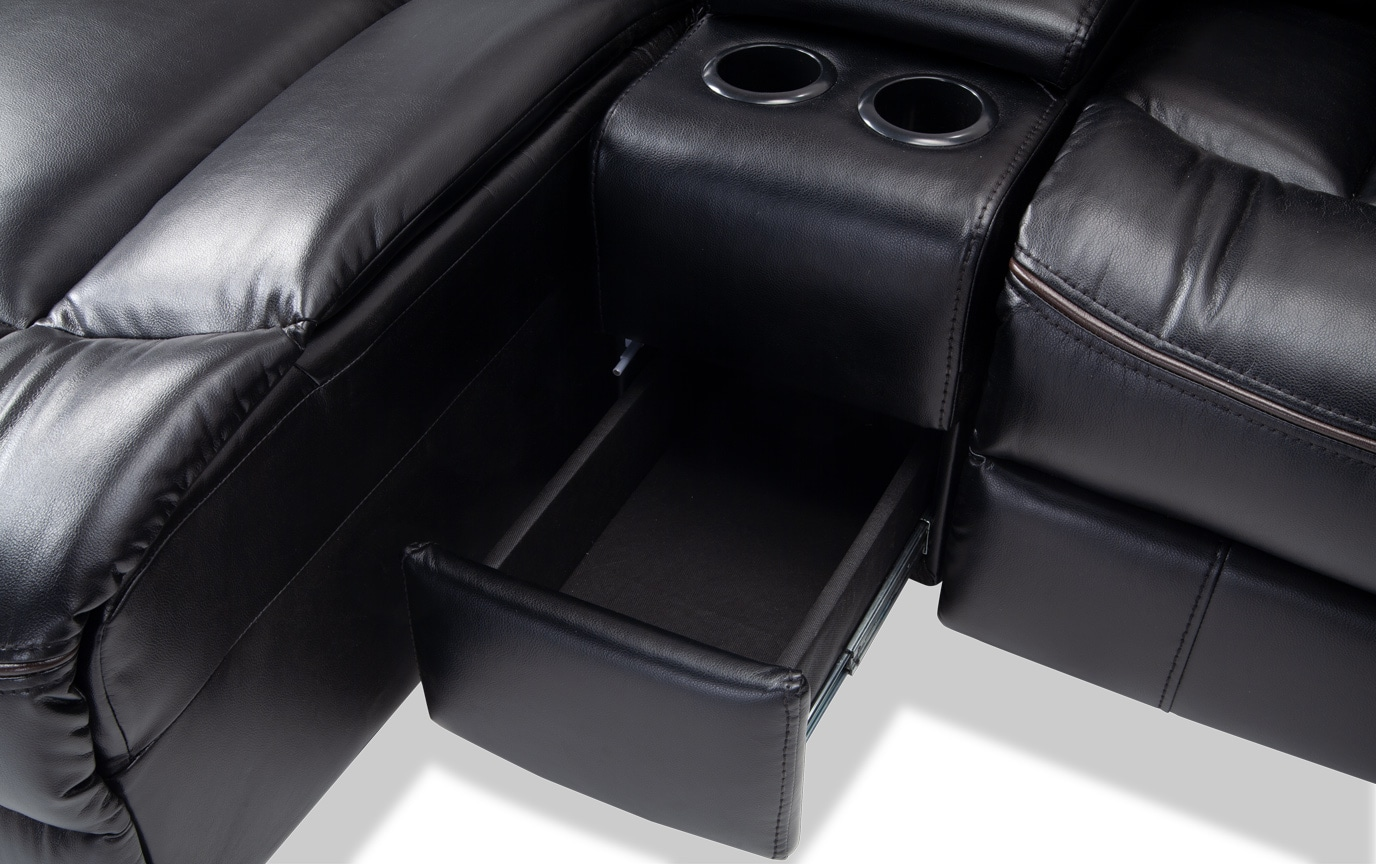 Avenger Black 4 Piece Power Reclining Right Arm Facing Sectional