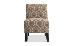 Abby Tan Floral Armless Chair