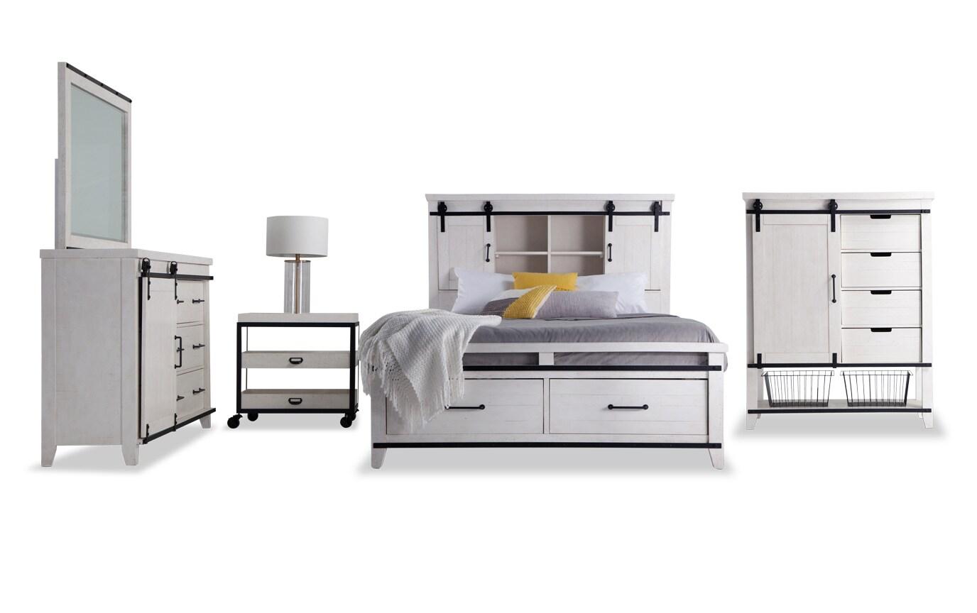 Montana California King White Bookcase Storage Bedroom Set