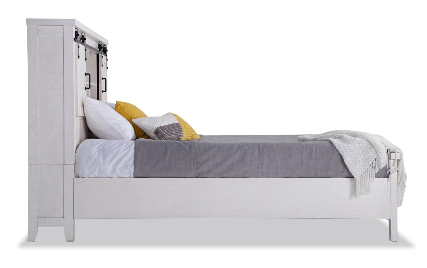 Montana Full White Bookcase Storage Bedroom Set