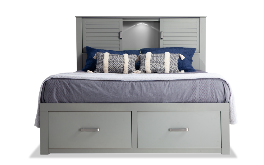 Dalton King Gray Storage Bed