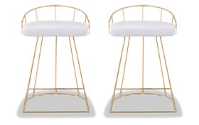 Set of 2 Kamini Velvet Counter Stools