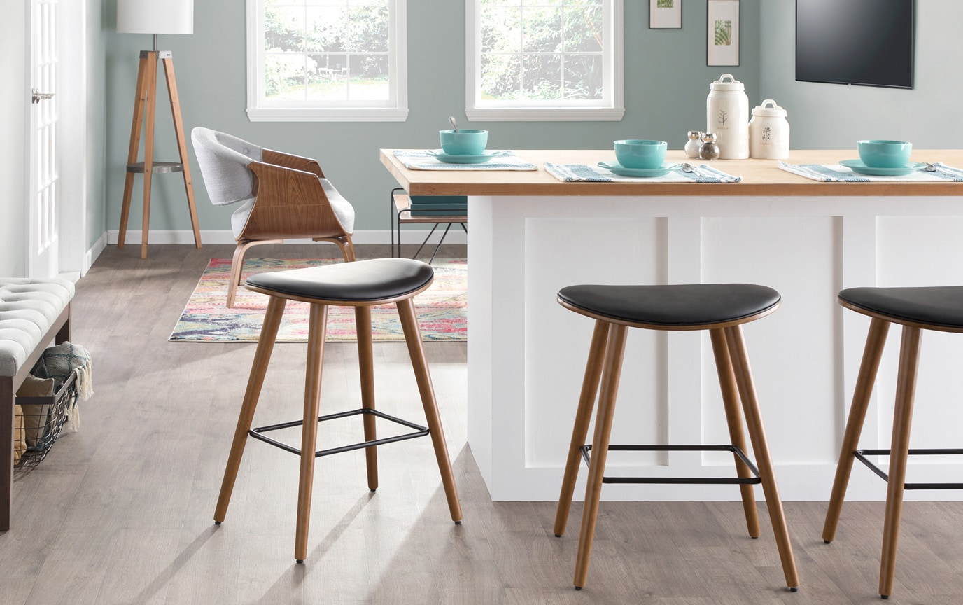 Set of 2 Katy Black Faux Leather Counter Stools