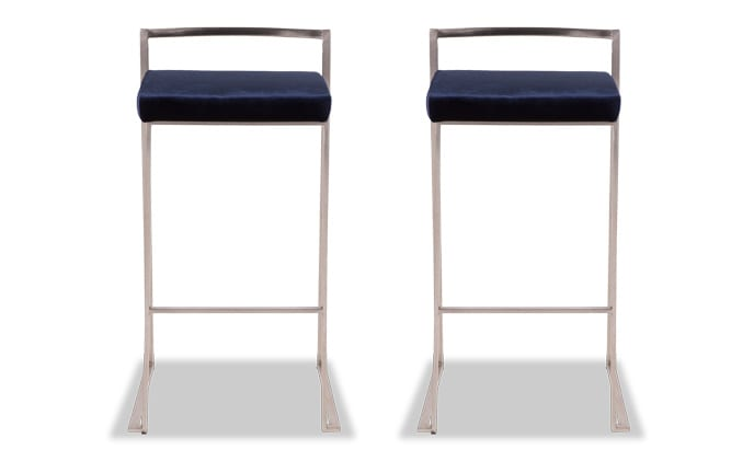 Set of 2 Keys Velvet Bar Stools