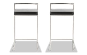 Set of 2 Keys Faux Leather Counter Stools