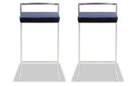 Set of 2 Keys Velvet Counter Stools