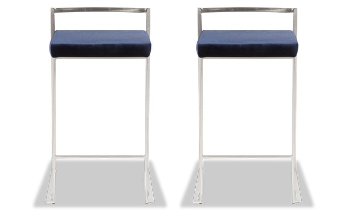 Set of 2 Keys Velvet Counter Stools
