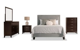 Tremont Twin Gray Upholstered Bedroom Set