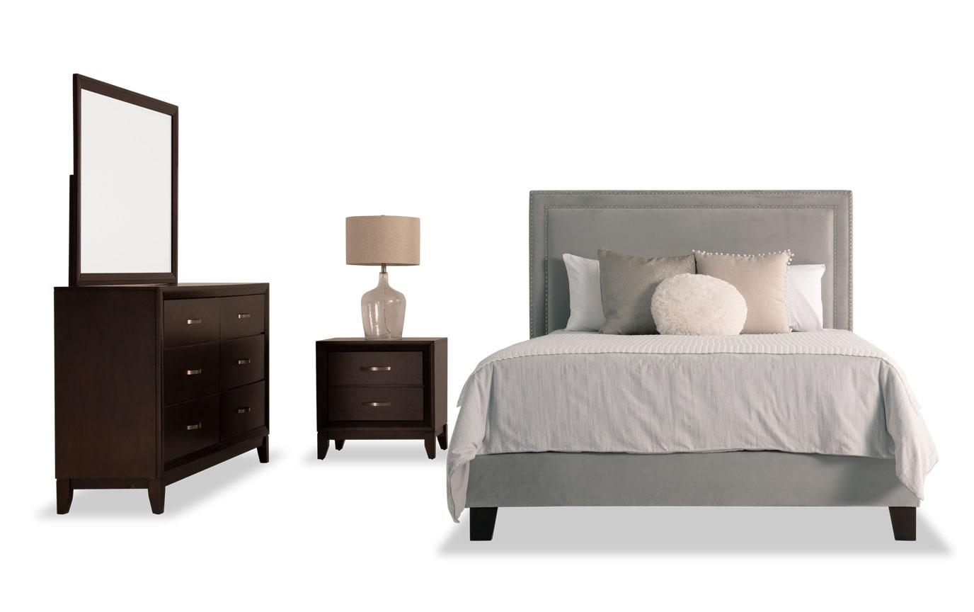 Tremont King Gray Upholstered Bedroom Set
