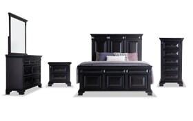 Palisades Queen Black Storage Bedroom Set