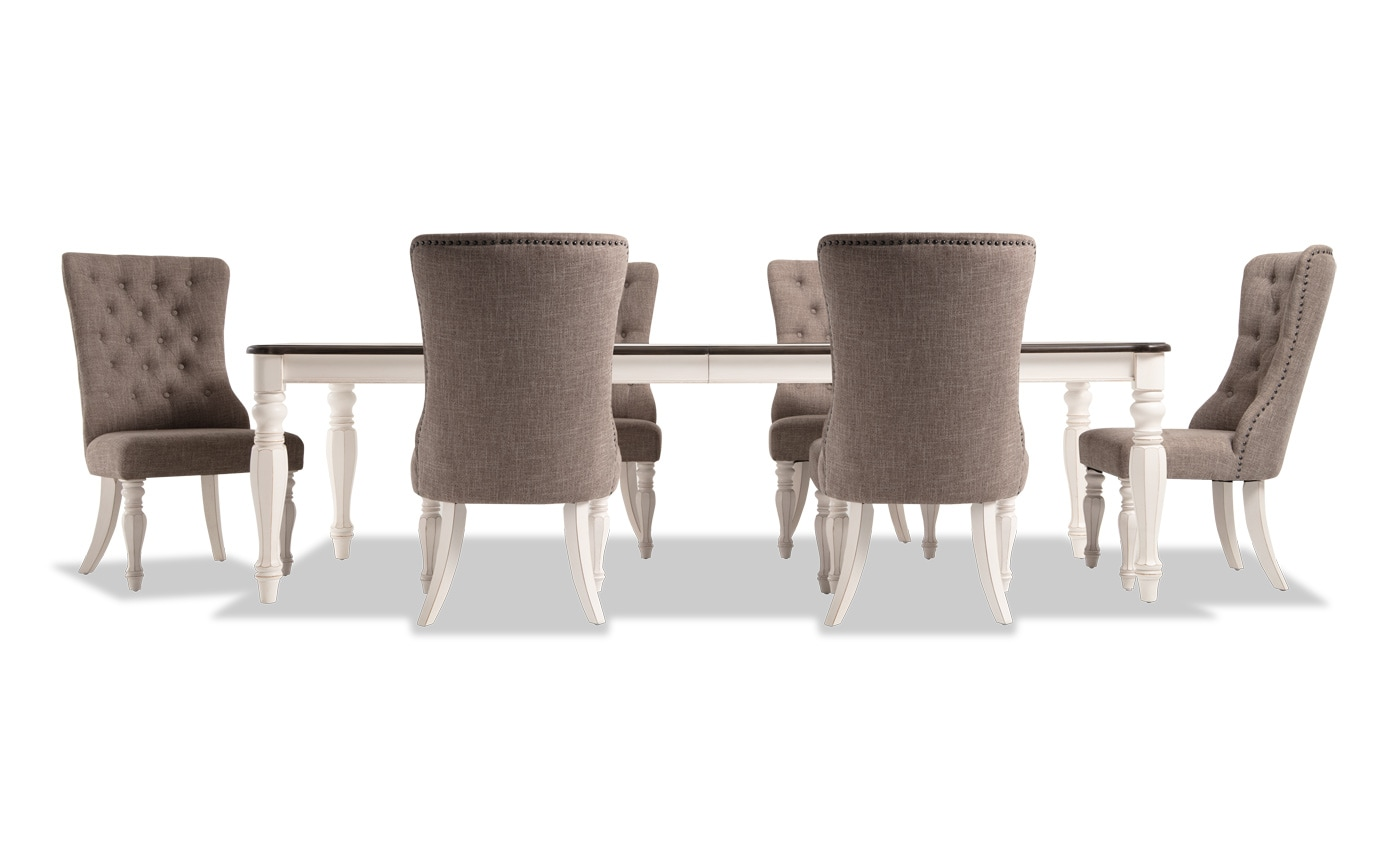 Scarlett 7 Piece Dining Set with Upholstered Host Chairs