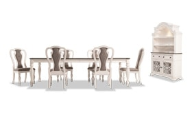 Scarlett 8 Piece Dining Set with China & Splat Back Side Chairs