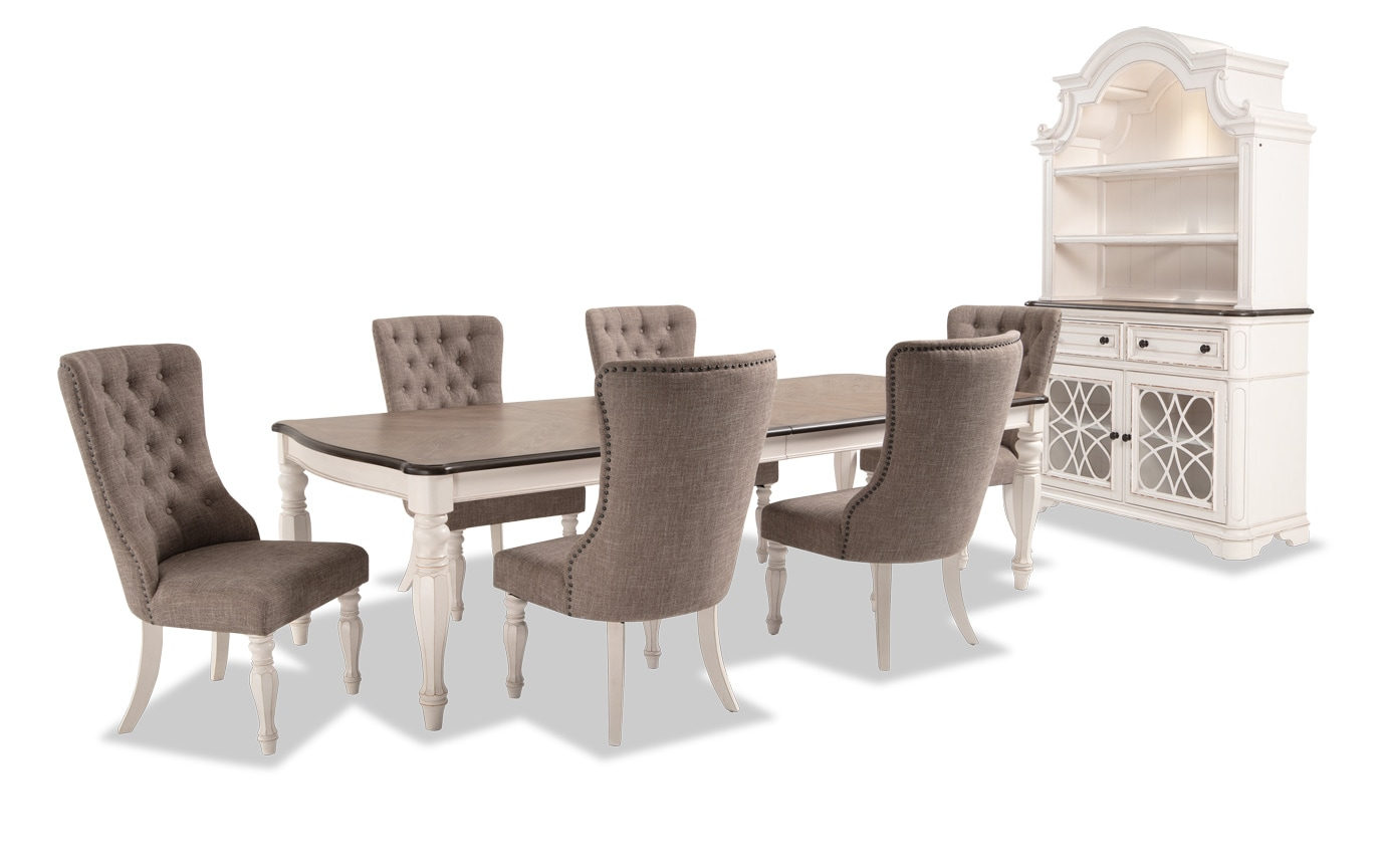 Scarlett 8 Piece Dining Set with China & Upholstered Host Chairs