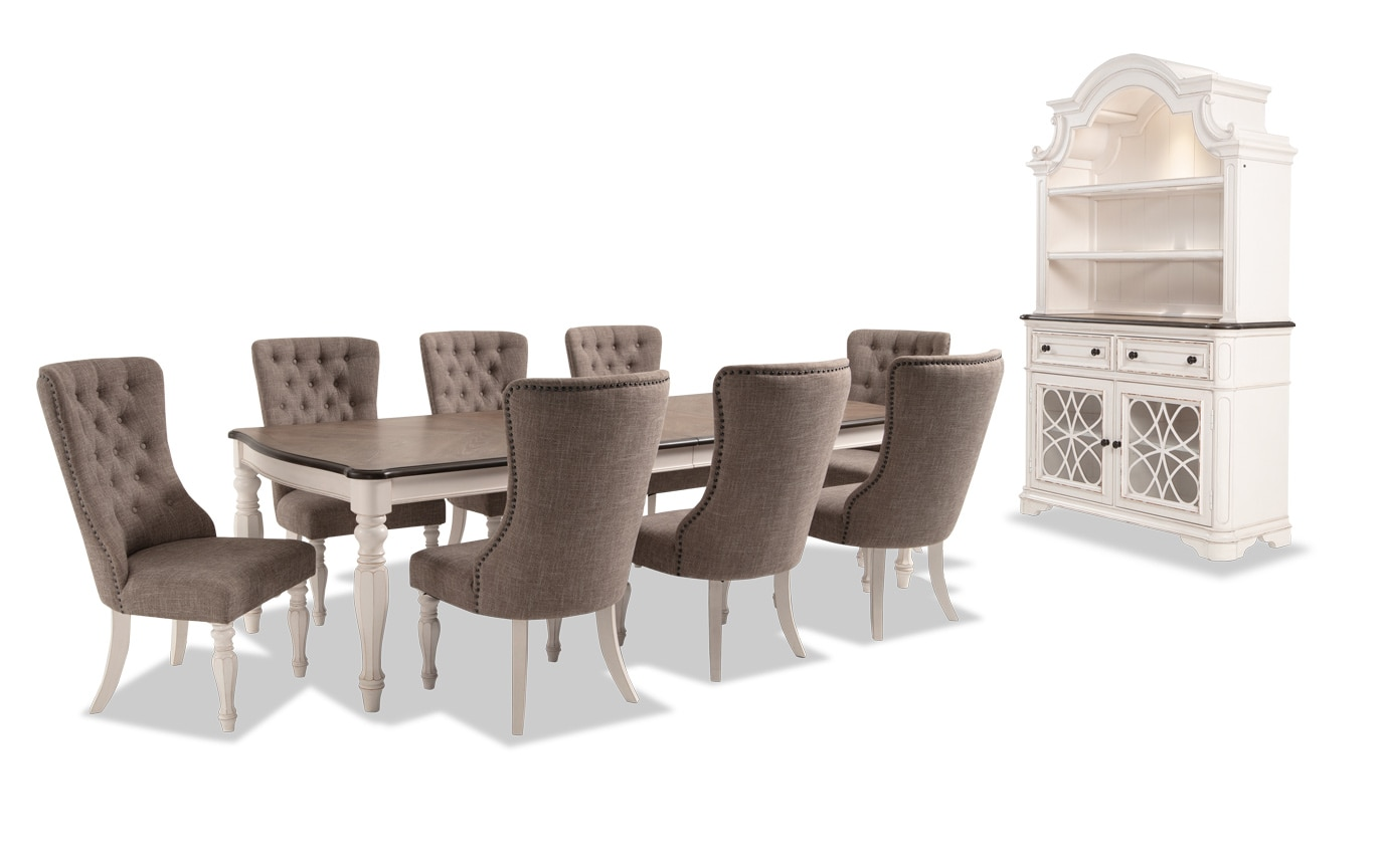 Scarlett 10 Piece Dining Set with China & Upholstered Host Chairs
