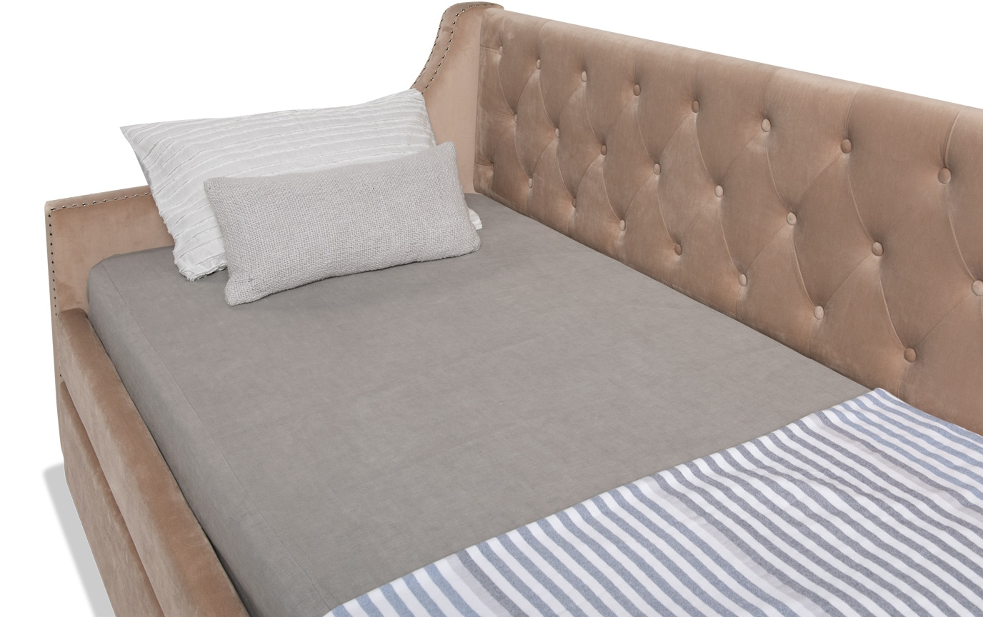 Chloe Twin Beige Upholstered Daybed with Twin Trundle