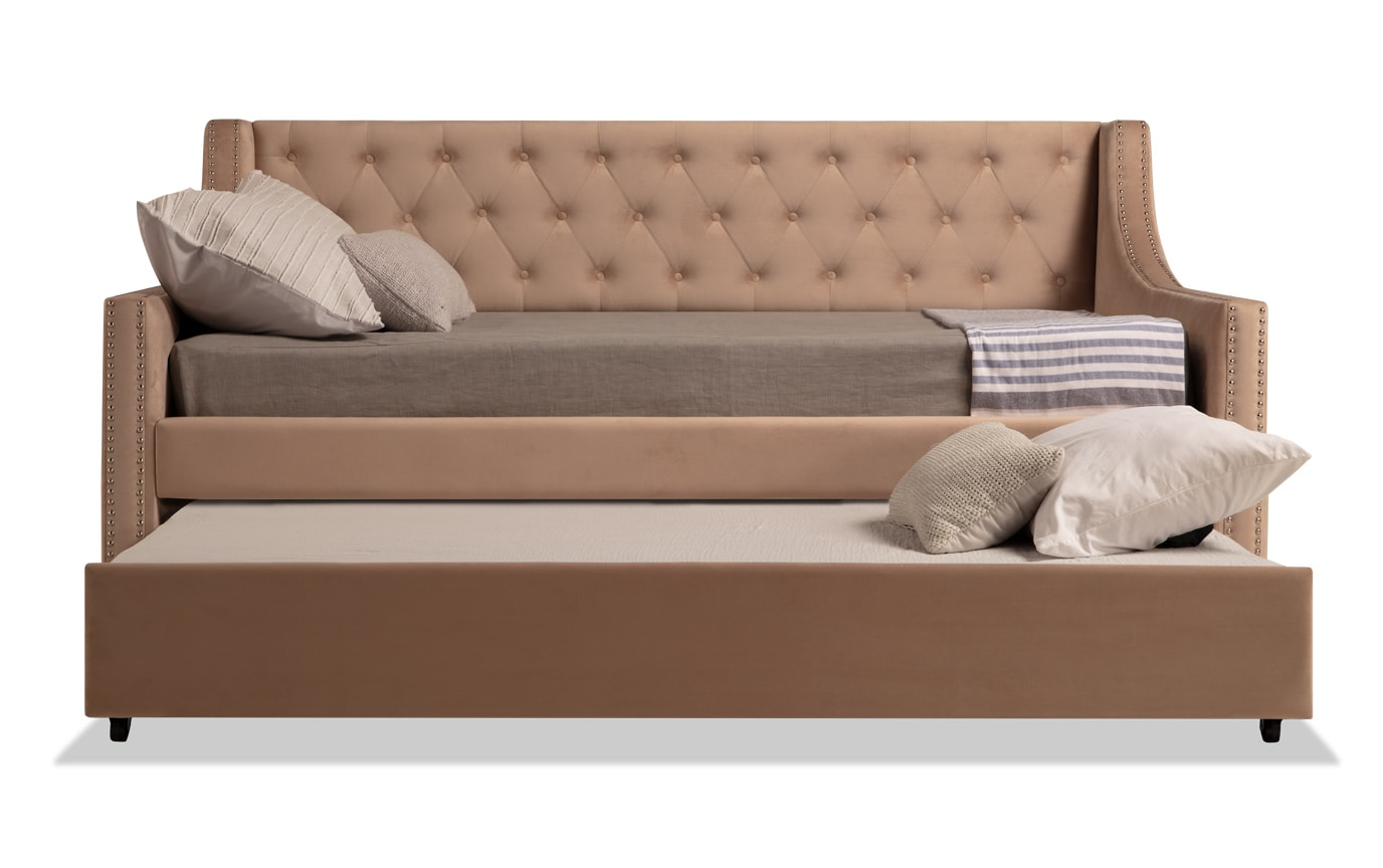 Chloe Full Beige Upholstered Daybed with Twin Trundle