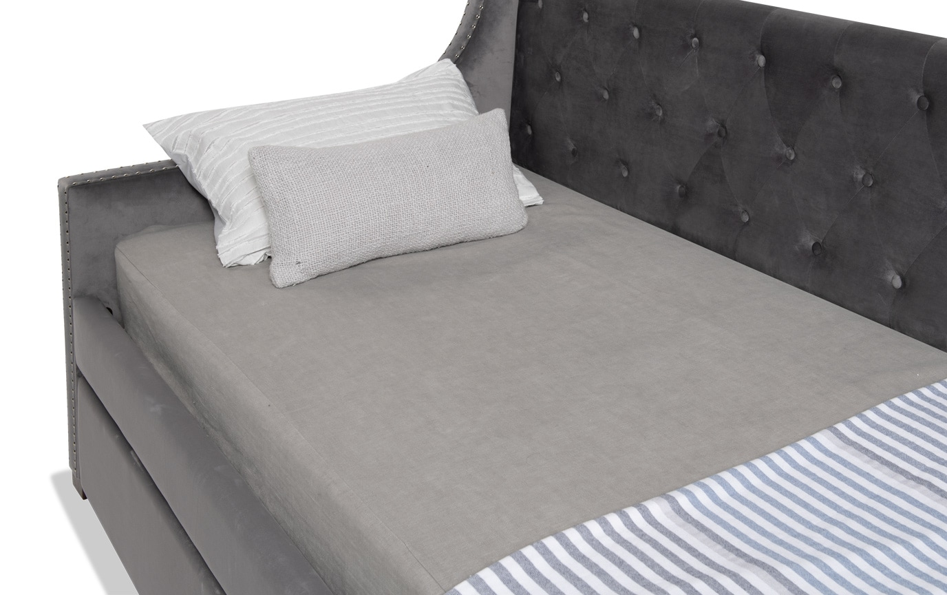 Chloe Twin Gray Upholstered Daybed with Twin Trundle