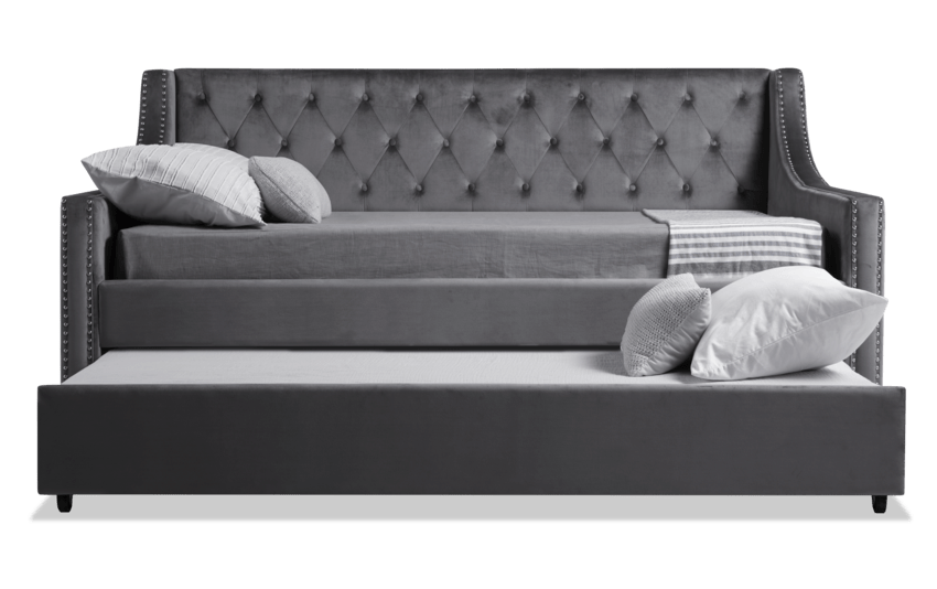 Chloe Full Gray Upholstered Daybed with Twin Trundle