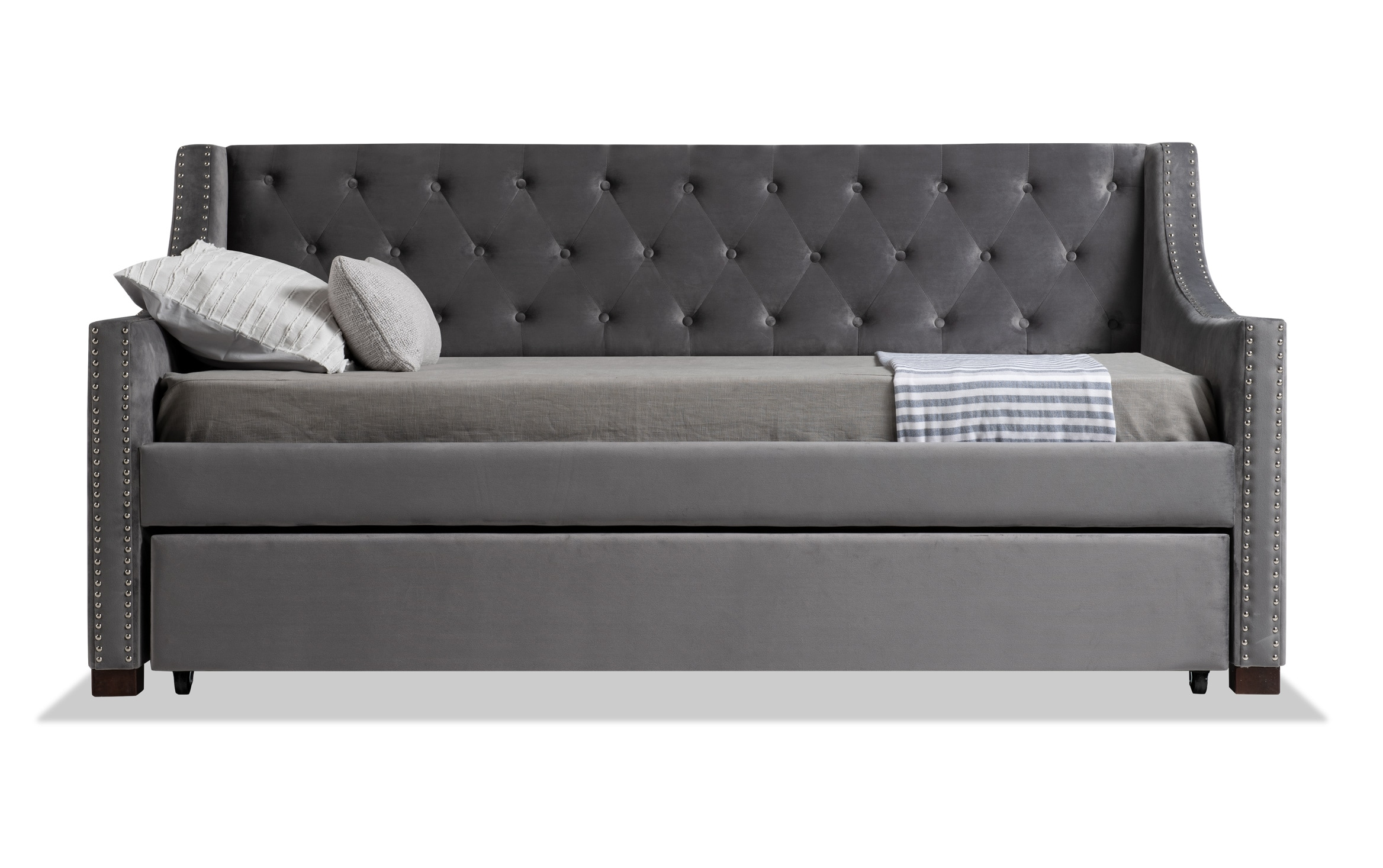 Chloe Twin Gray Upholstered Daybed With