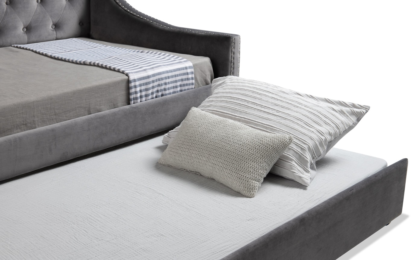 Chloe Twin Gray Upholstered Daybed with Twin Trundle & 2 Twin Perfection Mattresses