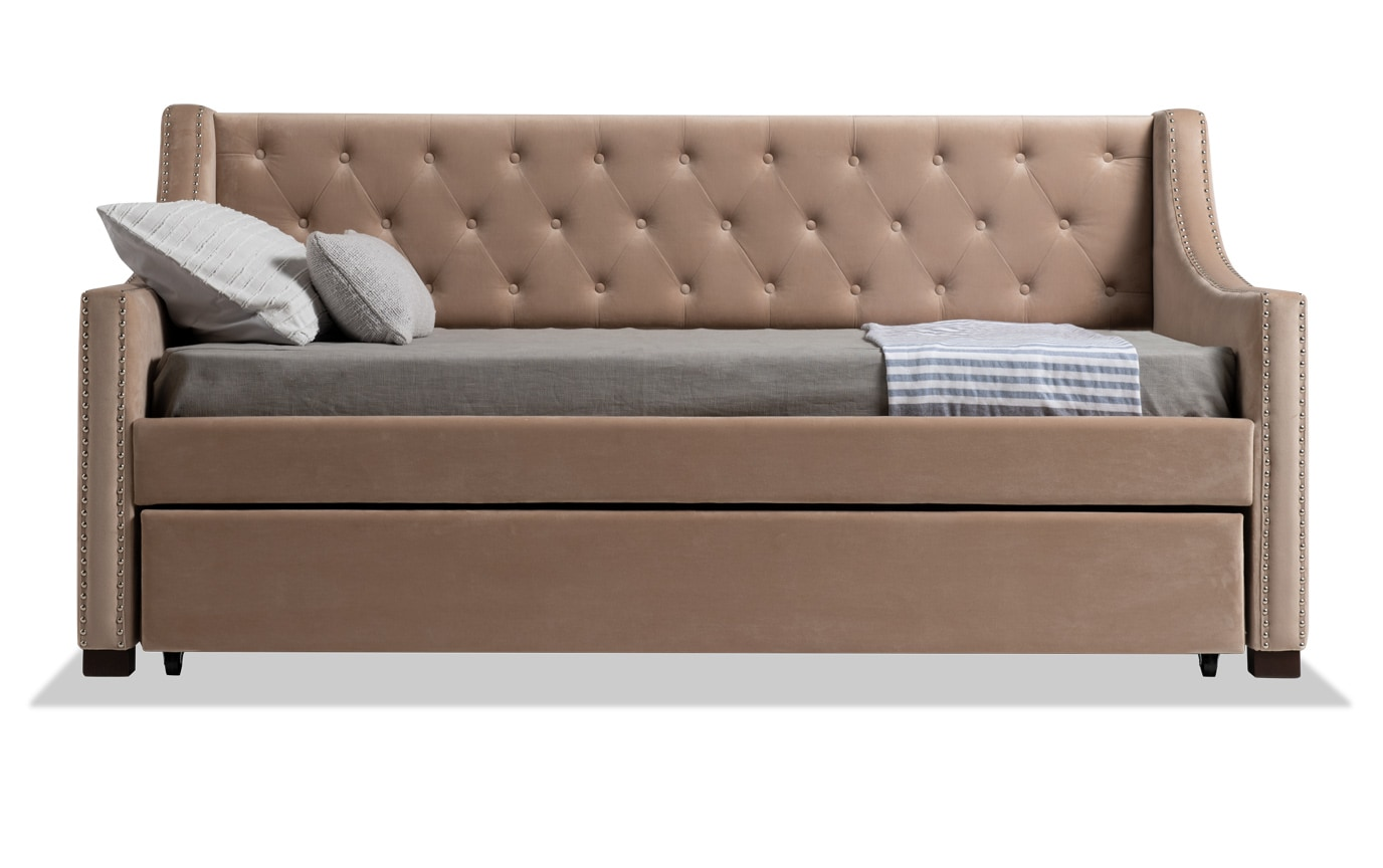 Chloe Twin Beige Upholstered Daybed with Twin Trundle & 2 Twin Perfection Mattresses