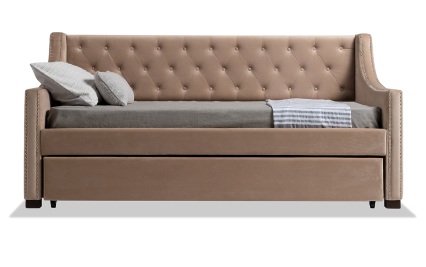 Chloe Twin Beige Upholstered Daybed with Twin Trundle & 2 Twin Bob-O-Pedic 6 Mattresses