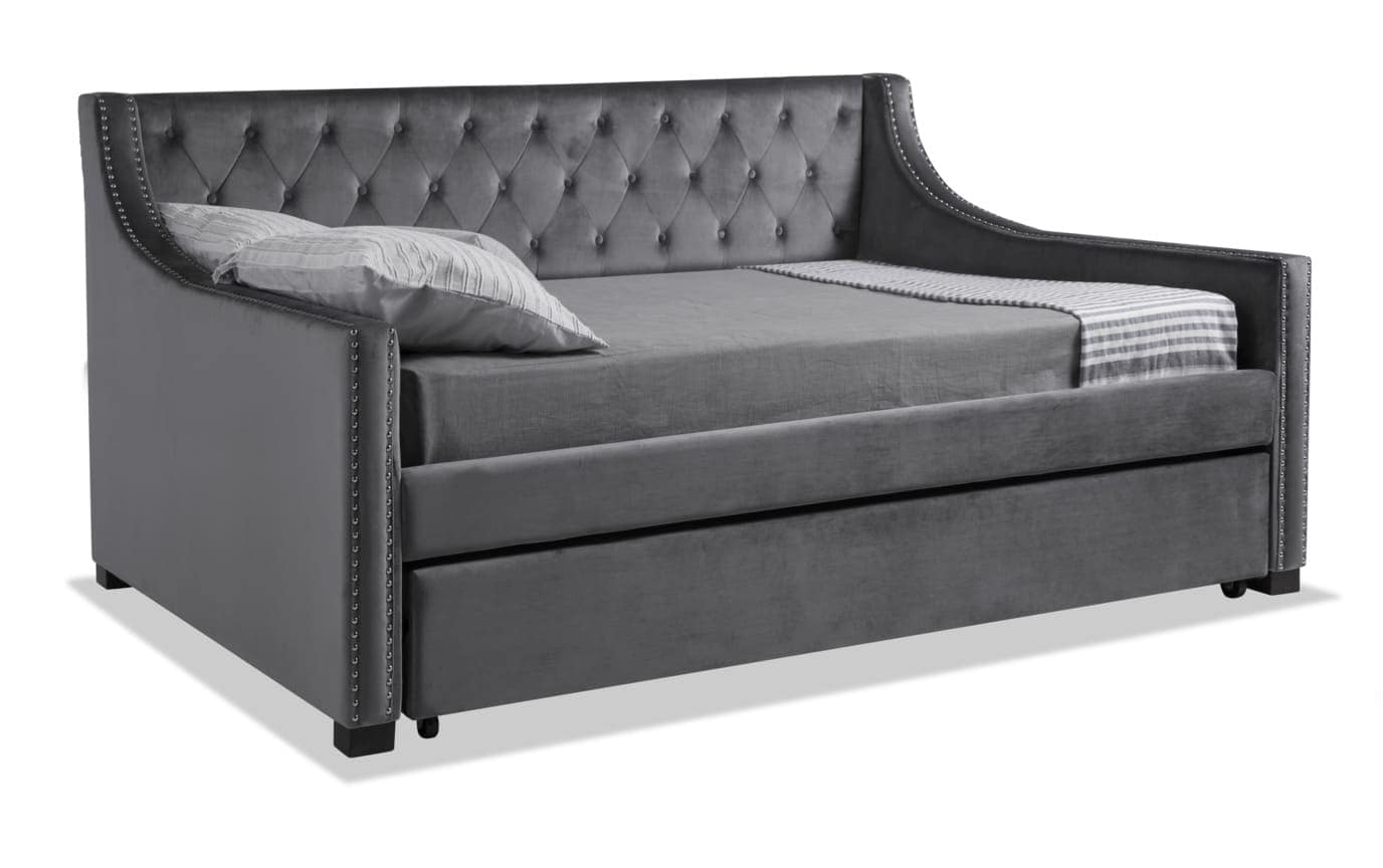 Chloe Full Gray Upholstered Daybed with Twin Trundle & 2 Perfection Mattresses