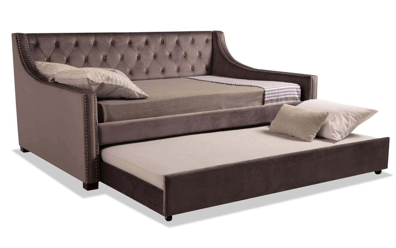 Chloe Full Gray Upholstered Daybed with Twin Trundle & 2 Bob-O-Pedic 6 Mattresses