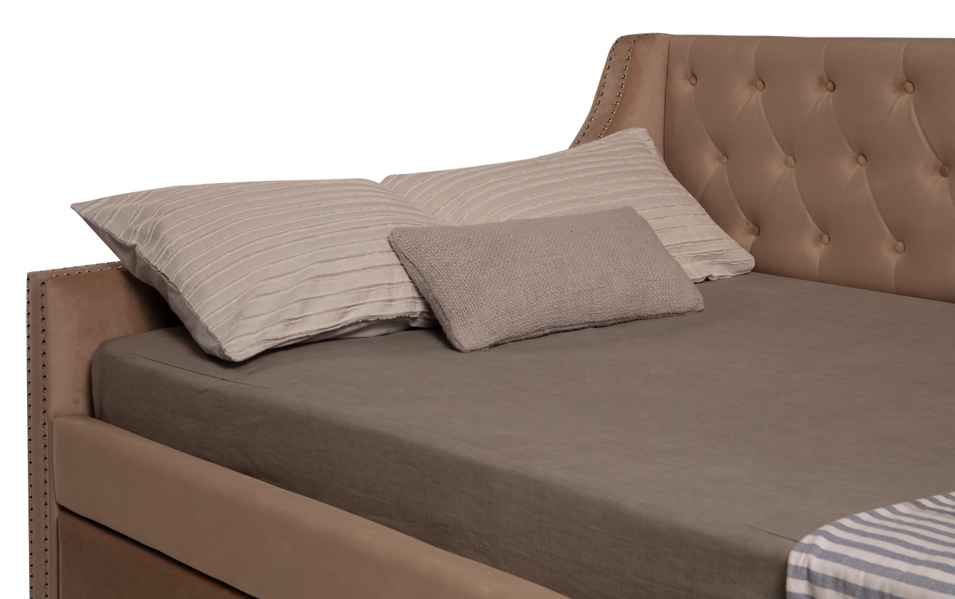 Chloe Full Beige Upholstered Daybed with Twin Trundle & 2 Perfection Mattresses