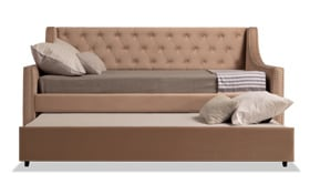 Chloe Full Beige Upholstered Daybed with Twin Trundle & 2 Bob-O-Pedic 6 Mattresses
