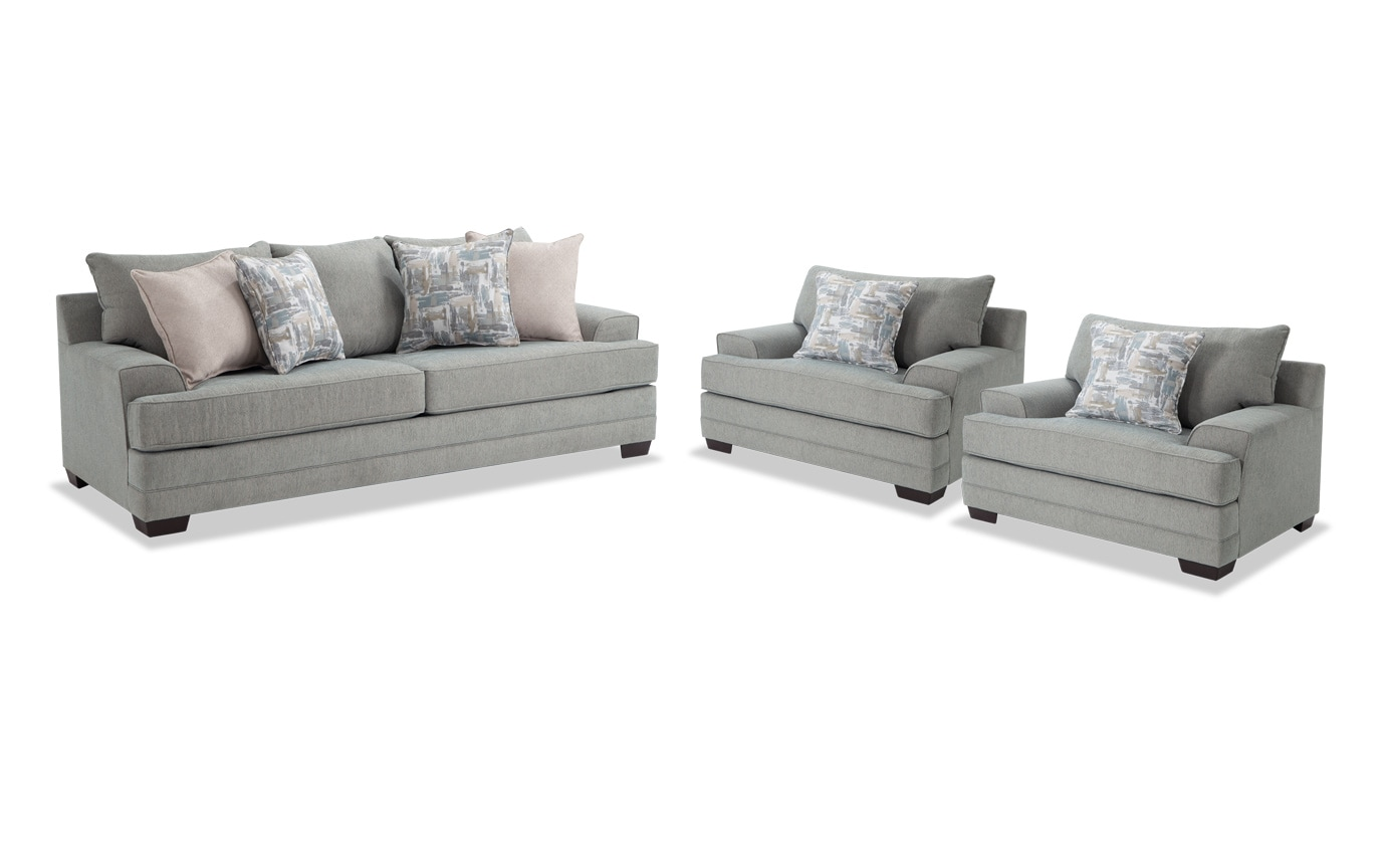 Harmony Sea Foam Blue Sofa & 2 Chairs