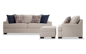 Harmony Beige Sofa, Chair & Storage Ottoman