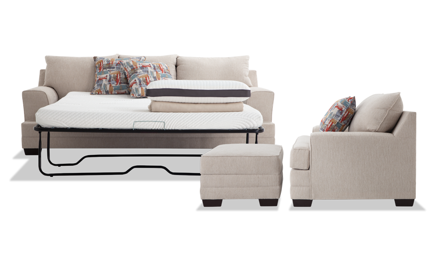 Harmony Beige Bob-O-Pedic Queen Sleeper Sofa, Chair & Storage Ottoman