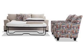 Harmony Beige Bob-O-Pedic Queen Sleeper Sofa & 2 Accent Chairs