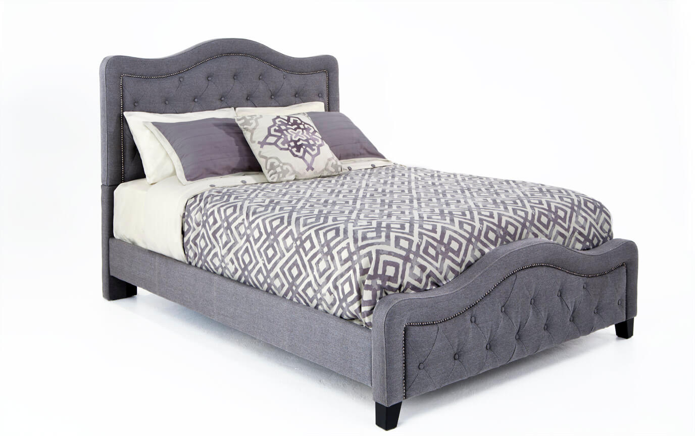 Troy King Gray Upholstered Bed