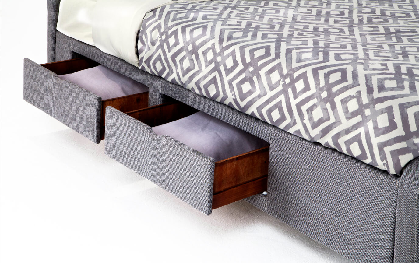 Troy Queen Gray Upholstered Storage Bed